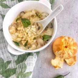 Receta de sopa de hongos y arroz con mandarina