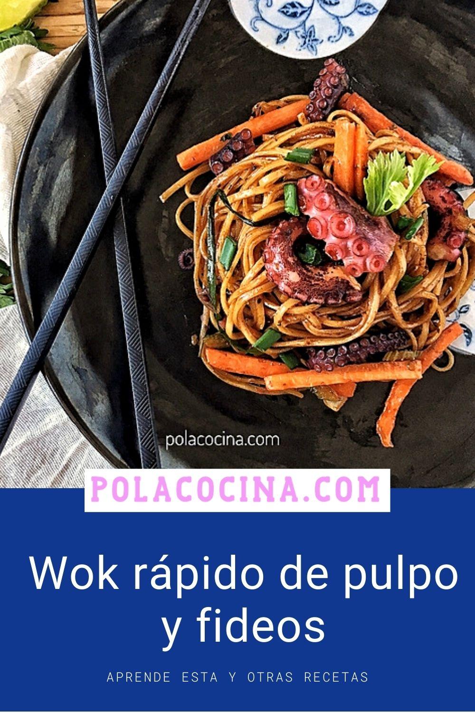 wok rápido de pulpo y fideos