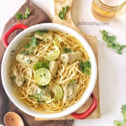 espagueti con alcachofas y limón
