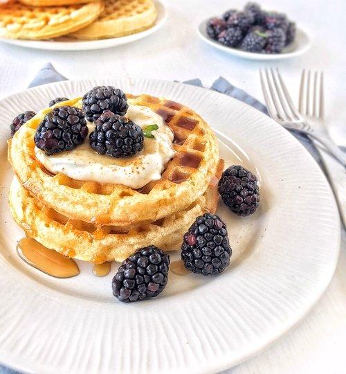 Desayuno de waffles con yogur y zarzamoras