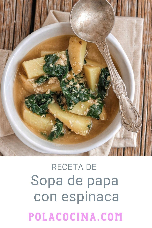 Sopa de papa con espinaca