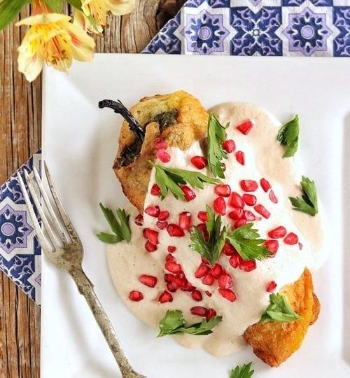 Chiles en nogada vegetarianos II