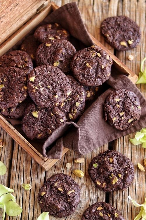 Galletas de chocolate y pistache