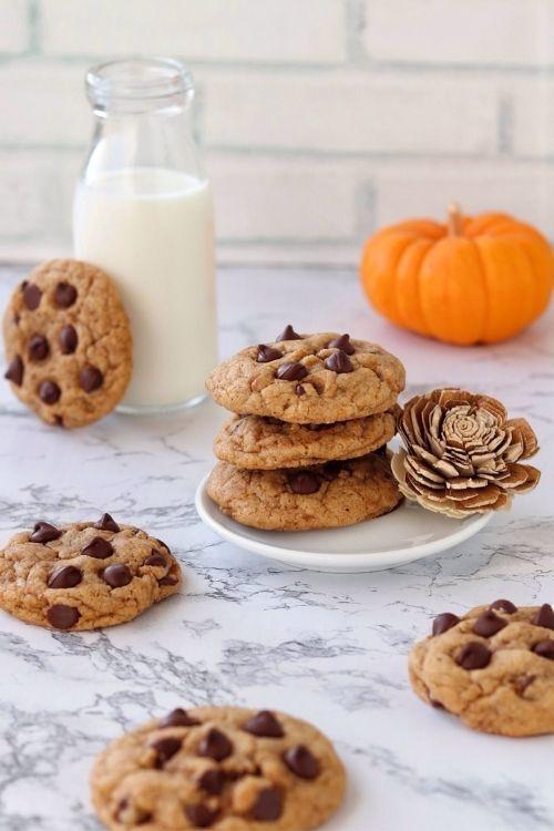 Cookies de calabaza y chips de chocolate